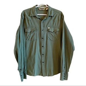 Vintage cotton western style green snap shirt
